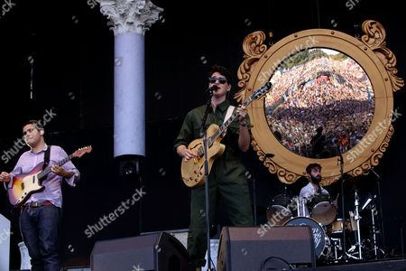 Rostam Batmanglij, Ezra Koenig, and Chris Tomson with Vampire Weekend performs on day 1 of the 2013 Austin City Limits Music Festival at Zilker Park on in Austin Texas