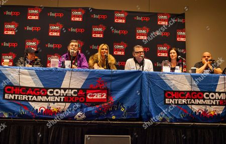 Actors Martin Klebba, David Bailie, Vanessa Branch, Kevin McNally, Lauren Maher and Lee Arenberg attend the Pirates of the Caribbean panel at the Chicago Comic & Entertainment Expo at McCormick Place, in Chicago