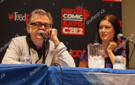 Actors Kevin McNally and Lauren Maher attend the Pirates of the Caribbean panel at the Chicago Comic & Entertainment Expo at McCormick Place, in Chicago