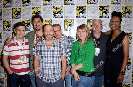 "From left, actors Chris Parnell, Lucky Yates, H. Jon Benjamin, writer Matt Thompson, actor Amber Nash, director/writer Adam Reed and actor Aisha Tyler attend the FX ""Archer"" press room on Day 3 of Comic-Con International on in San Diego, Calif"