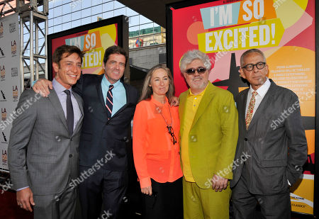 """Pedro Almodovar, second from right, director of """"I'm So Excited,"""" poses with, left to right, Film Independent co-president Sean McManus, Film Independent co-president Josh Welsh, chair of the board of directors of Film Independent Mary Sweeney and Los Angeles Film Festival artistic director David Ansen at the Los Angeles Film Festival's premiere of the film at the Regal Cinemas at LA LIVE on in Los Angeles"""