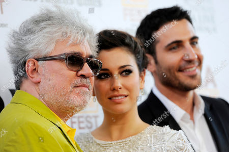 """Stock Photo of Pedro Almodovar, left, director of """"I'm So Excited,"""" poses with cast members Blanca Suarez, center, and Miguel Silvestre at the Los Angeles Film Festival's premiere of the film at the Regal Cinemas at LA LIVE on in Los Angeles"""
