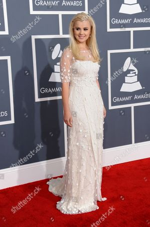 Stock Image of Mika Newton arrives at the 55th annual Grammy Awards, in Los Angeles