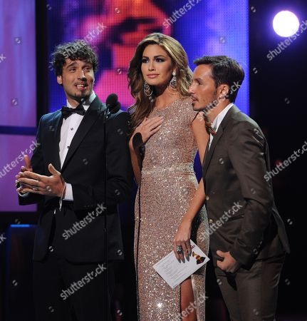 From left, presenters Dante Spinetta, Gabriela Isler and Emmanuel Horvilleur onstage at the 14th Annual Latin Grammy Awards at the Mandalay Bay Hotel and Casino, in Las Vegas