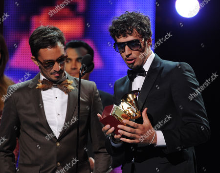 From left, recording artists Emmanuel Horvilleur and Dante Spinetta of Illya Kuryaki and the Valderramas accept the award for Best Urban Song for 'Ula Ula' onstage at the 14th Annual Latin Grammy Awards at the Mandalay Bay Hotel and Casino, in Las Vegas