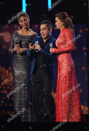 From left, hosts Blanca Soto, Omar Chaparro, and Lucero onstage at the 14th Annual Latin Grammy Awards at the Mandalay Bay Hotel and Casino, in Las Vegas
