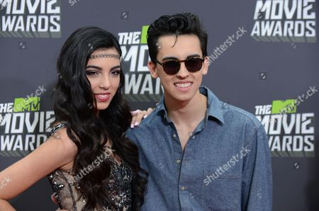 Stock Image of Brandon Hudson, right, and Savannah Hudson of the band Brandon and Savannah arrive at the MTV Movie Awards in Sony Pictures Studio Lot in Culver City, Calif., on