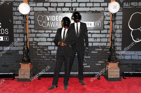 Guy-Manuel de Homem-Christo and Thomas Bangalter known as Daft Punk arrive at the MTV Video Music Awards, at the Barclays Center in the Brooklyn borough of New York