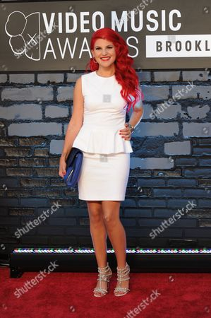 Carly Aquilino arrives at the MTV Video Music Awards, at the Barclays Center in the Brooklyn borough of New York