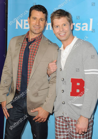 """Jeff Pederson, left, and Blair Late of Bravo's """"Newlyweds"""" arrives at the 2013 NBCUniversal Summer Press Day at The Langham Huntington Hotel and Spa on in Pasadena, Calif"""