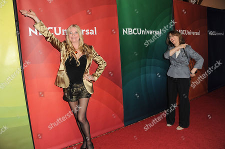 """Jackie Siegel, left, and director, Lauren Greenfield, of Bravo's """"The Queen of Versailles"""" arrive at the 2013 NBCUniversal Summer Press Day at The Langham Huntington Hotel and Spa, in Pasadena, Calif"""