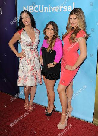 """From left, Joey Lauren, Ashlee White and Chanel Omari of Bravo's """"Princesses: Long Island"""" arrive at the 2013 NBCUniversal Summer Press Day at The Langham Huntington Hotel and Spa on in Pasadena, Calif"""