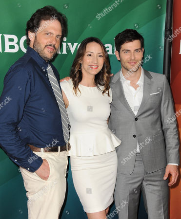 "From left, Silas Weir Mitchell, Bree Turner and David Guintoli of NBC's ""Grimm"" arrive at the 2013 NBCUniversal Summer Press Day at The Langham Huntington Hotel and Spa on in Pasadena, Calif"