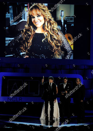 "The cast of ""Filly Brown"" presents a tribute to Jenni Rivera, seen on screen, at the NCLR ALMA Awards at the Pasadena Civic Auditorium, in Pasadena, Calif"
