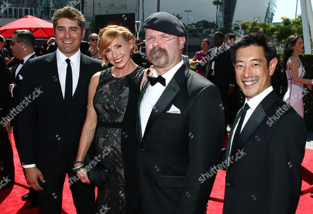 From left, Tory Belleci, Kari Byron, Jamie Hyneman and Grant Imahara arrive at the 2013 Primetime Creative Arts Emmy Awards, on at Nokia Theatre L.A. Live, in Los Angeles, Calif