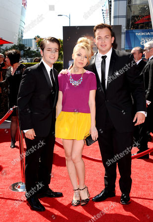 Stock Image of From left, Nathan Kress, Jennette McCurdy and Noah Munck arrive at the 2013 Primetime Creative Arts Emmy Awards, on at Nokia Theatre L.A. Live, in Los Angeles, Calif