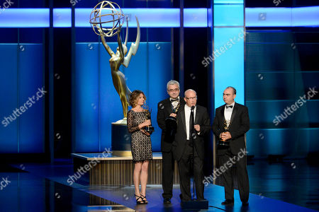 From left, Sara Bernstein, Todd Wider, Alex Gibney and Jedd Wider accept the award for Exceptional Merit in Documentary Filmmaking for Mea Maxima Culpa: Silence In The House of God onstage at the 2013 Primetime Creative Arts Emmy Awards, on at Nokia Theatre L.A. Live, in Los Angeles, Calif