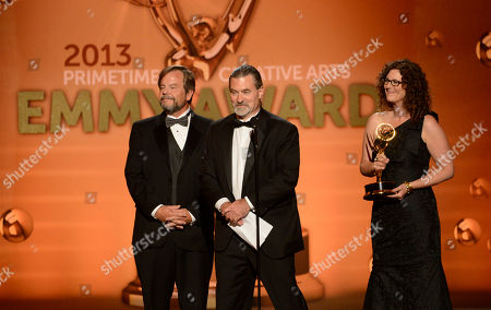 Stock Image of Representatives of Nickelodeon accept the award for Outstanding Children's Program for Nick News with Linda Ellerbee onstage at the 2013 Primetime Creative Arts Emmy Awards, on at Nokia Theatre L.A. Live, in Los Angeles, Calif