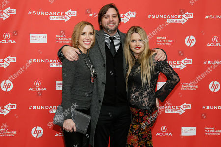 """Producers Laura Rister, left, Jim Young, center, and Heidi Jo Markel, right, pose at the premiere of """"Lovelace"""" during the 2013 Sundance Film Festival on in Park City, Utah"""