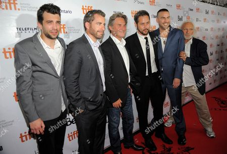 "Fro left, actors Jay Baruchel, Jason Jones, Kurt Russell, director Jonathan Sobol and actors Dax Ravina and Kenneth Welsh arrive at the premiere of ""The Art of the Steal"" on day 7 of the Toronto International Film Festival at Roy Thomson Hall on in Toronto"