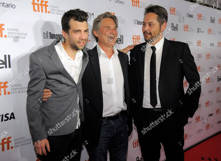"""From left, actors Jay Baruchel, Kurt Russell and director Jonathan Sobol arrive at the premiere of """"The Art of the Steal"""" on day 7 of the Toronto International Film Festival at Roy Thomson Hall on in Toronto"""