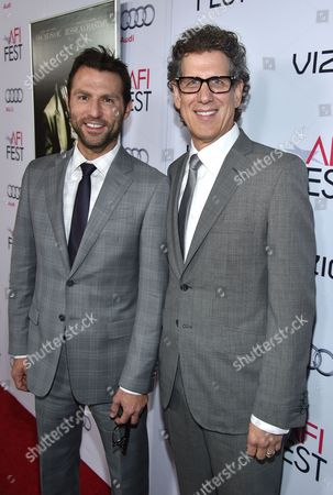 """Stock Picture of Jonathan King, left, and Jim Berk arrive at 2014 AFI Fest - """"A Most Violent Year"""" at the Dolby Theatre, in Los Angeles"""