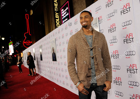 """Anthony Kelley, a cast member in """"The Gambler,"""" poses at the premiere of the film at AFI Fest 2014, in Los Angeles"""