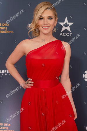 Stock Image of Actress Kathryn Winnick poses on the red carpet at the 2014 Canadian Screen Awards on in Toronto, Canada