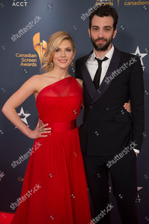 Actress Kathryn Winnick and Actor Jay Baruchel pose on the red carpet at the 2014 Canadian Screen Awards on in Toronto, Canada