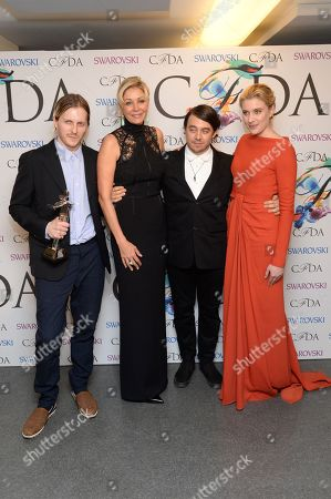 From left, Shane Gabier, Nadja Swarovski, Christopher Peters, and Greta Gerwig at the Winners Walk at the 2014 CFDA Fashion Awards, on in New York