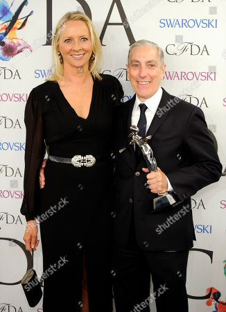 The Media award recipient Paul Cavaco poses with Linda Wells backstage at the 2014 CFDA Fashion Awards at Alice Tully Hall, in New York
