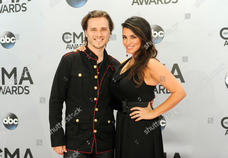 Stock Picture of Jonathan Jackson, left, and Lisa Vultaggio arrive at the 48th annual CMA Awards at the Bridgestone Arena, in Nashville, Tenn