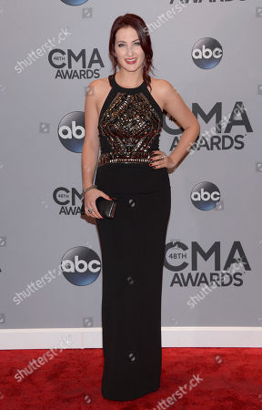Katie Armiger arrives at the 48th annual CMA Awards at the Bridgestone Arena, in Nashville, Tenn