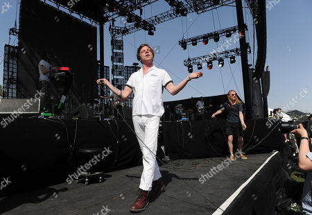 Matt Schultz of Cage The Elephant performs during the band's set at the 2014 Coachella Music and Arts Festival, in Indio, Calif