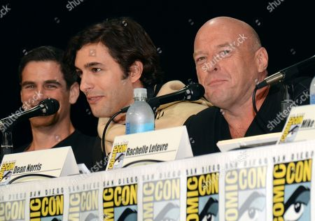 "Eddie Cahill and from left, Alexander Koch and Dean Norris attend the ""Under the Dome"" panel on Day 1 of Comic-Con International, in San Diego"
