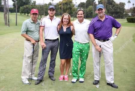 Dick O'Donnell, and from left, Brendan Fehr, Daren O'Donnell, Jackie Flynn and Matt Kermer participate in a tournament at the 15th Emmys Golf Classic, presented by the Television Academy Foundation, at the Wilshire Country Club in Los Angeles