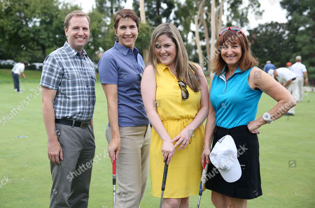 Maury McIntyre, president and COO of the Television Academy, Heather Cochran, CFO and EVP of business operations of the Television Academy, Karla Kitchel, director of strategic partnerships and marketing of the Television Academy Foundation, and Susan Nessanbaum-Goldberg, treasurer of the Television Academy, participate in a tournament at the 15th Emmys Golf Classic, presented by the Television Academy Foundation, at the Wilshire Country Club in Los Angeles