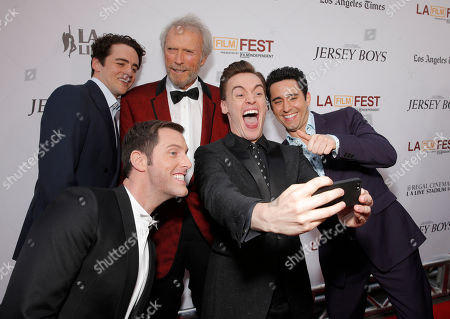Michael Lomenda, Vincent Piazza, director/producer Clint Eastwood and actors Erich Bergen and John Lloyd Young attend the Warner Bros. Premiere of 'Jersey Boys' at the 2014 Los Angeles Film Festival held at Regal Cinemas LA Live Stadium 14, in Los Angeles