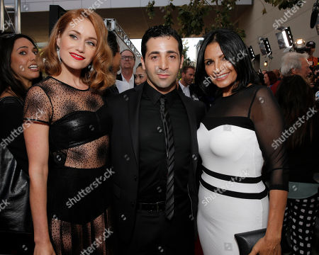 Stock Picture of Erica Piccininni, Johnny Cannizzaro and Kathrine Narducci attend the Warner Bros. Premiere of 'Jersey Boys' at the 2014 Los Angeles Film Festival held at Regal Cinemas LA Live Stadium 14, in Los Angeles