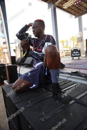 Stock Image of Khalif Diouf aka Le1f performs at the 2014 Hangout Music Festival, in Gulf Shores, Alabama