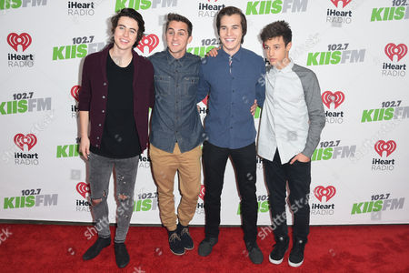 Nash Grier, left Cody Johns, Marcus Johns, and Cameron Dallas right seen at 2014 KIIS FM's Jingle Ball - Arrivals at Staples Center on Friday December 5th, 2014, in Los Angeles, California