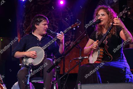 Bela Fleck(L) and Abigail Washburn perform at Magnolia Fest at the Spirit of Suwannee Music Park in Live Oak Florida on