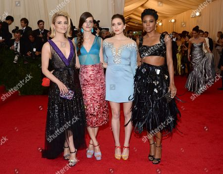 """Dianna Agron and from left, Stacy Martin, Elizabeth Olsen and Gabrielle Union attend The Metropolitan Museum of Art's Costume Institute benefit gala celebrating """"Charles James: Beyond Fashion"""", in New York"""