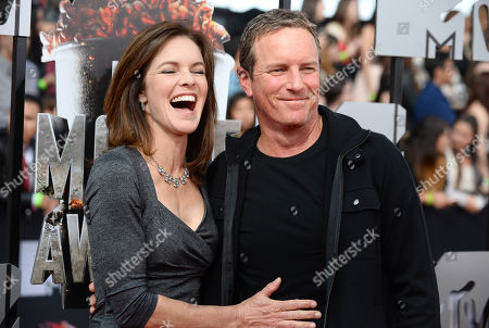 Susan Walters, left, and Linden Ashby arrive at the MTV Movie Awards, at Nokia Theatre in Los Angeles