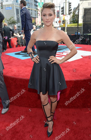 Jill Wagner arrives at the 2014 MTV Movie Awards, on in Los Angeles