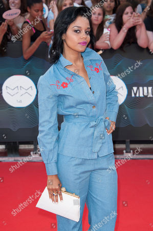Fefe Dobson arrives on the red carpet during the 2014 MuchMusic Video Awads on in Toronto, Canada