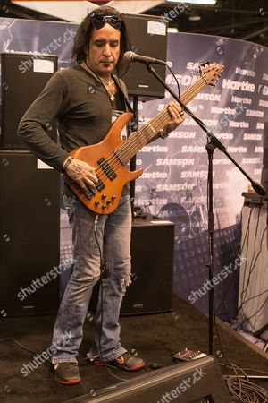 Bassist Marco Mendoza of Thin Lizzy during the 2014 NAMM show on in Anaheim, Calif