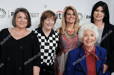 """Mindy Cohn, from left, Geri Jewell, Lisa Whelchel, Charlotte Rae and Nancy McKeon, arrive at the 2014 PALEYFEST Fall TV Previews - """"The Facts Of Life"""" Reunion, in Beverly Hills, Calif"""