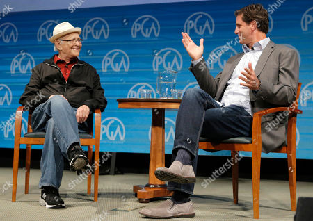 IMAGE DISTRIBUTED FOR PRODUCERS GUILD OF AMERICA - Norman Lear, left, and Steve Levitan speak on stage at the Produced By Conference - Day 2 at Warner Bros. Studios, in Burbank, Calif