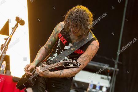 Guitarist Ben Bruce of Asking Alexandria performs at the Rockstar Energy Drink Mayhem Festival at San Manuel Amphitheater on in San Bernardino, California